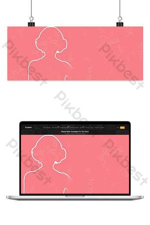 fondo rosado simple del cartel de la bandera de la silueta de la mujer Fondos Modelo PSD