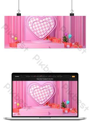 fondo de banner de amor de festival de estrella rosa fresca pequeña c4d Fondos Modelo PSD