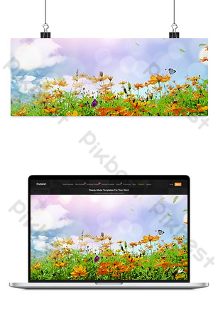 Simple and beautiful small fresh flower sea background Backgrounds Template PSD
