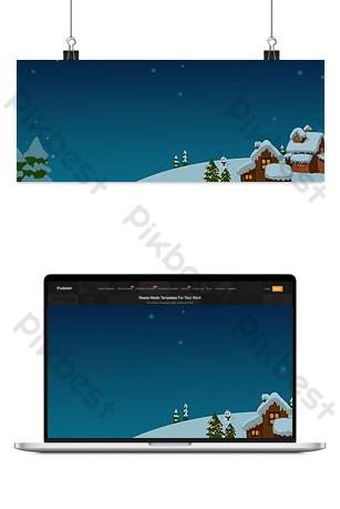 Neige, jour de neige, arbres de maison, ciel bleu de nuit, fond d'étoiles Fond Modèle PSD