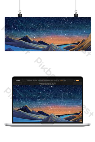 Starry Sky Mountain and River Fantasia Backgrounds Template PSD