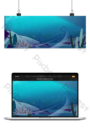 Ocean bottom poster background Backgrounds Template PSD