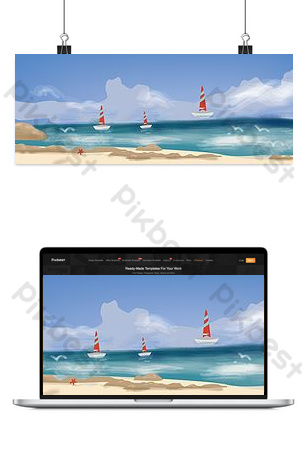Beach travel illustration background Backgrounds Template PSD