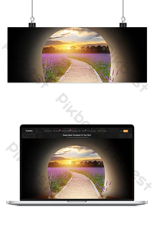 Creative synthesis tunnel simple flower sea landscape Backgrounds Template PSD