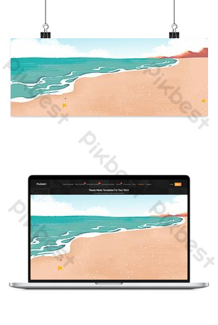 Natural seaside summer beach sea water background image Backgrounds Template PSD