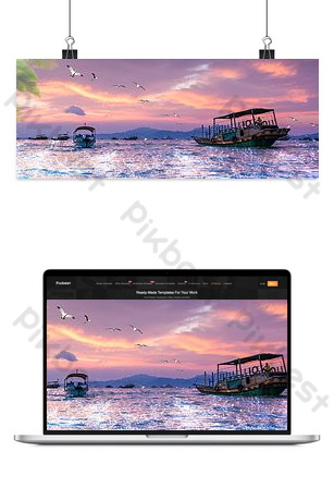 Simple synthetic sea fishing cruise background Backgrounds Template PSD