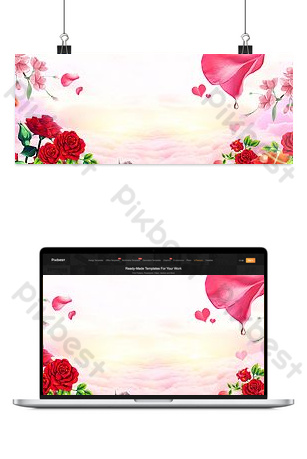 Beautiful romantic peach blossom cloud banner background Backgrounds Template PSD
