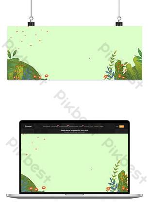 文藝清新鄉村風手繪淡綠色橫幅 背景 模板 PSD