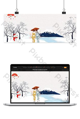日本旅遊文藝手繪粉紅色背景 背景 模板 PSD