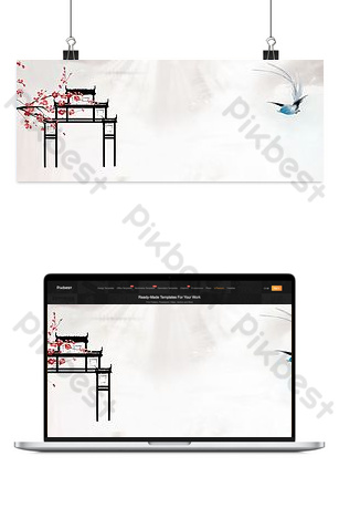 清新文藝中國建築電子商務背景 背景 模板 PSD