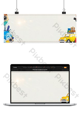 Simple creative national day travel season luggage Taobao banner Backgrounds Template PSD
