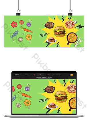 Taobao food vector cartoon fast food chicken legs knife and fork burger seasoning poster Backgrounds Template PSD