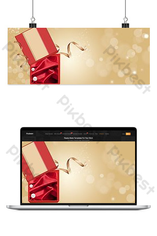 New Year's carnival season golden cosmetics promotion store home Backgrounds Template PSD