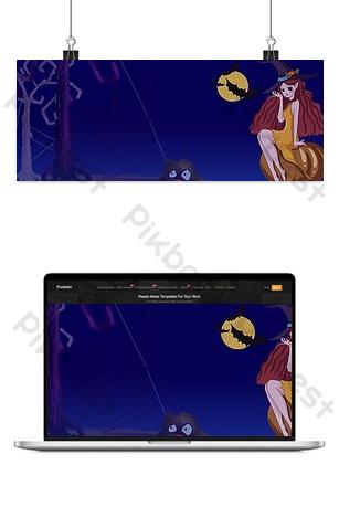 banner de carnaval de halloween de niña dibujada a mano de dibujos animados Fondos Modelo PSD