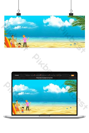 Summer fresh blue sea background image Backgrounds Template PSD
