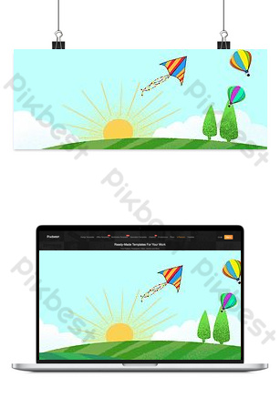 Simple Happy Series Wide Children Poster Background Backgrounds Template PSD