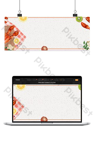 Lobster cartoon seafood gourmet open fishing festival e-commerce banner Backgrounds Template PSD