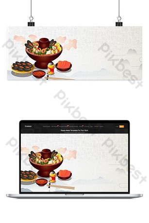 Seafood hot pot banner background Backgrounds Template PSD