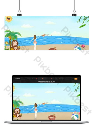 Summer vacation summer camp seaside vacation travel coconut tree blue background Backgrounds Template PSD