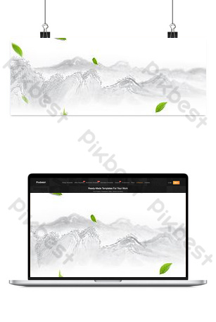 Chinese Feng Shui Ink Tea Set Shop Home Backgrounds Template PSD