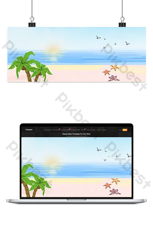 sea cartoon color banner background Backgrounds Template PSD