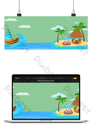 Taobao vector cartoon vacation island house yacht seaside trees poster Backgrounds Template PSD