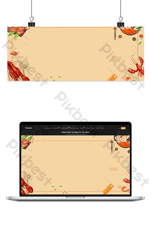 Autumn harvest season seafood dinner yellow promotion banner Backgrounds Template PSD