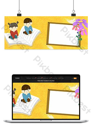 plantilla de fondo de cartel de folleto de niños de fondo amarillo retro Fondos Modelo PSD