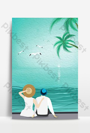 Fresh hand painted blue sea couple honeymoon travel background Backgrounds Template PSD
