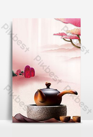 粉色唯美新中國風五月春茶節宣傳背景 背景 模板 PSD