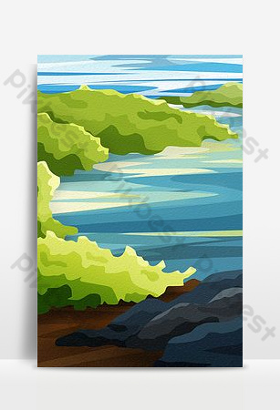 Green seaside reef background Backgrounds Template PSD