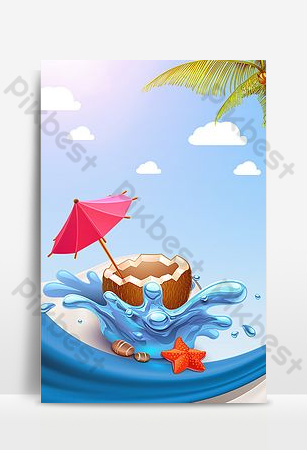Island travel summer fruit coconut seaside advertising background Backgrounds Template PSD