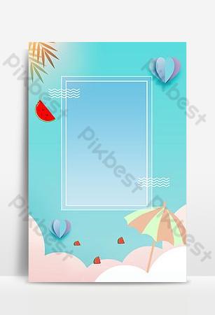 小清新文藝藍色夏季促銷平面海報 背景 模板 PSD