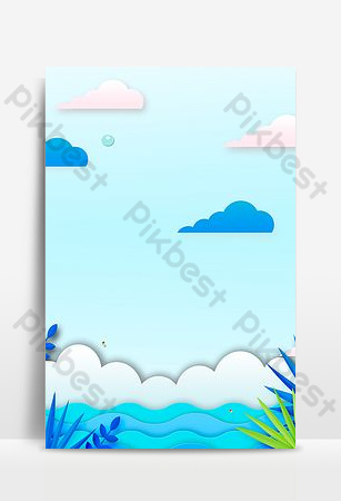 Summer blue refreshing seaside paper cut style advertising background Backgrounds Template PSD