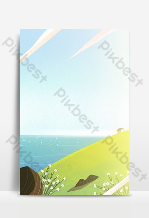 Hand-painted simple sea sky line poster background Backgrounds Template PSD