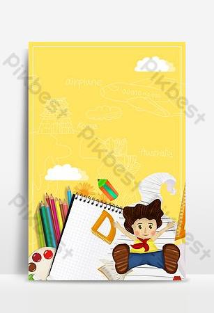 cartel de publicidad del campus de dibujos animados amarillos de la temporada escolar Fondos Modelo PSD