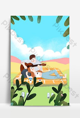 September hello couple outing background poster Backgrounds Template PSD