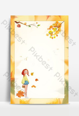 Deciduous autumn september hello background poster Backgrounds Template PSD