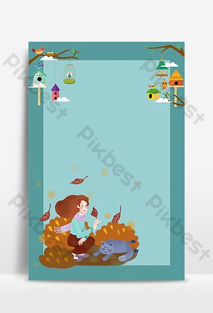 Hello september autumn girl and blue cat background poster Backgrounds Template PSD