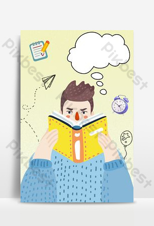 Hello September, reading, learning, flat style background download Backgrounds Template PSD