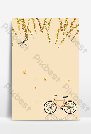 Hello september autumn simple bike background Backgrounds Template PSD