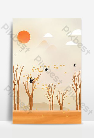 Autumn cartoon september hello background Backgrounds Template PSD