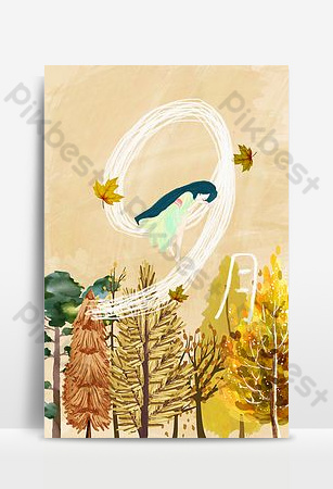 Hand painted september hello autumn wind blowing through the forest poster background Backgrounds Template PSD