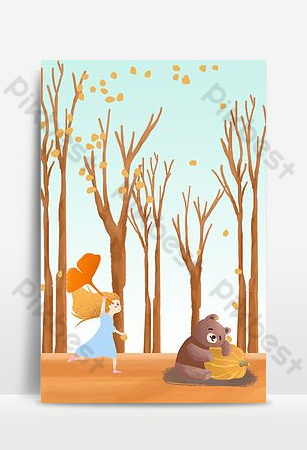 Hello autumn september yellow cartoon background Backgrounds Template PSD