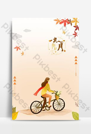 Hello september maple autumn beautiful bicycle girl background Backgrounds Template PSD