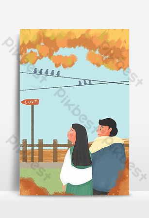 Autumn september couple yellow cartoon background poster download Backgrounds Template PSD