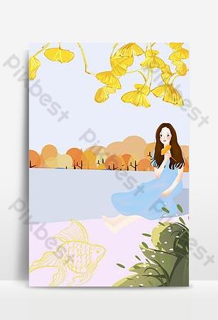 Autumn september girl blue cartoon background poster download Backgrounds Template PSD