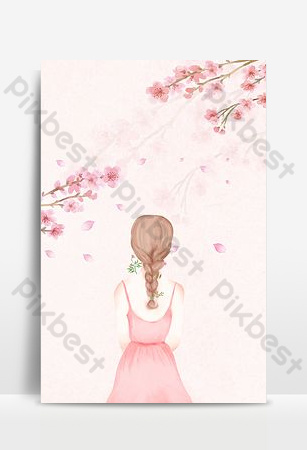 Hello september pink girl back view advertising background Backgrounds Template PSD