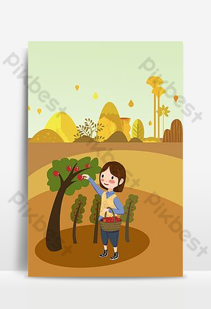 Autumn hello september autumn picking poster background Backgrounds Template PSD