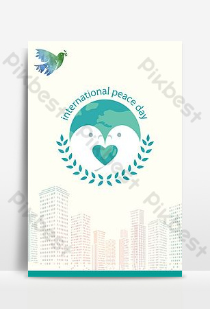 يوم السلام العالمي شقة أضيق الحدود حمامة السلام مدينة صورة ظلية ملصق خلفيات قالب PSD